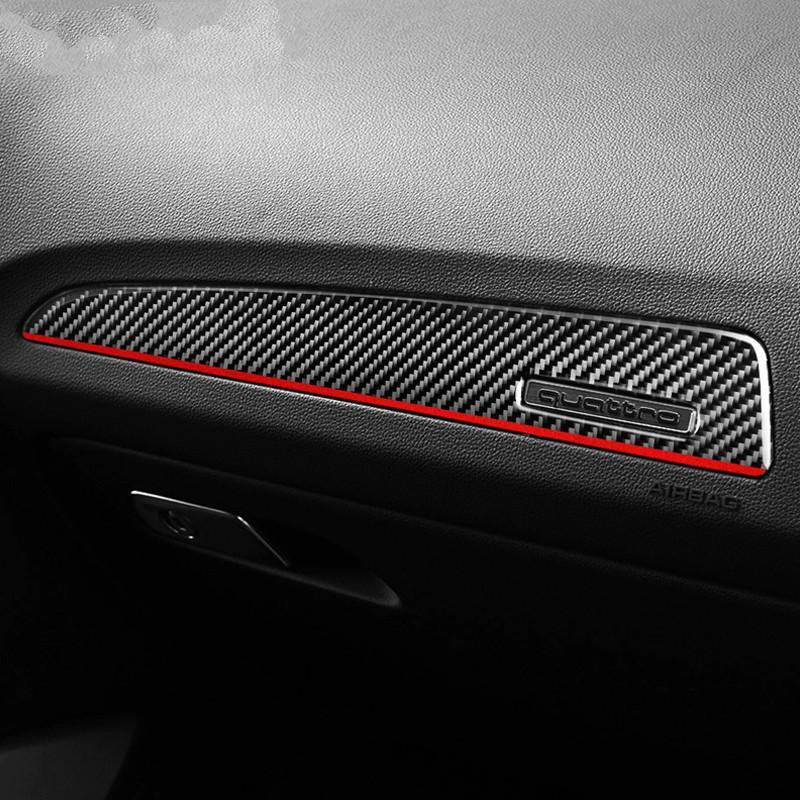 Intérieur en fibre de carbone porte panneau de garniture couverture Copilot Tableau de bord Panneau autocollants Styling pour Audi Q5 (2010-2018) SQ5 (2013-2017)