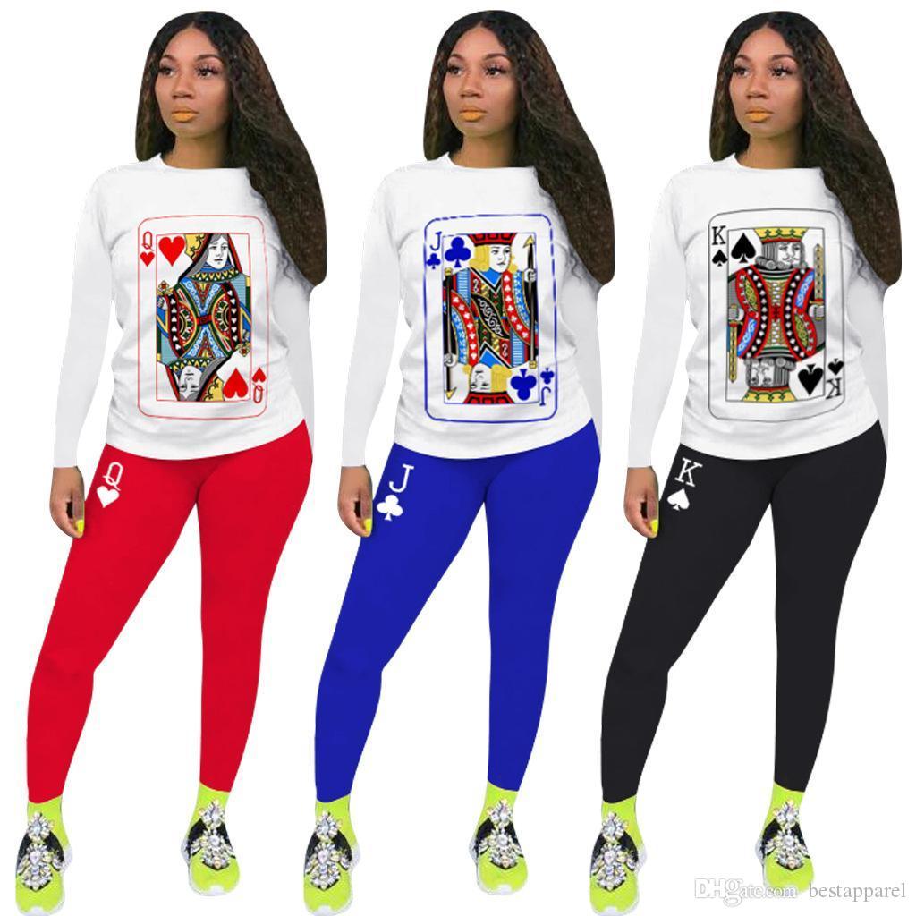Sportwear Poker Car Imprimer les femmes Survêtement deux pièces Set à manches longues Tops Matching costume pantalon Set set073 de tenue décontractée