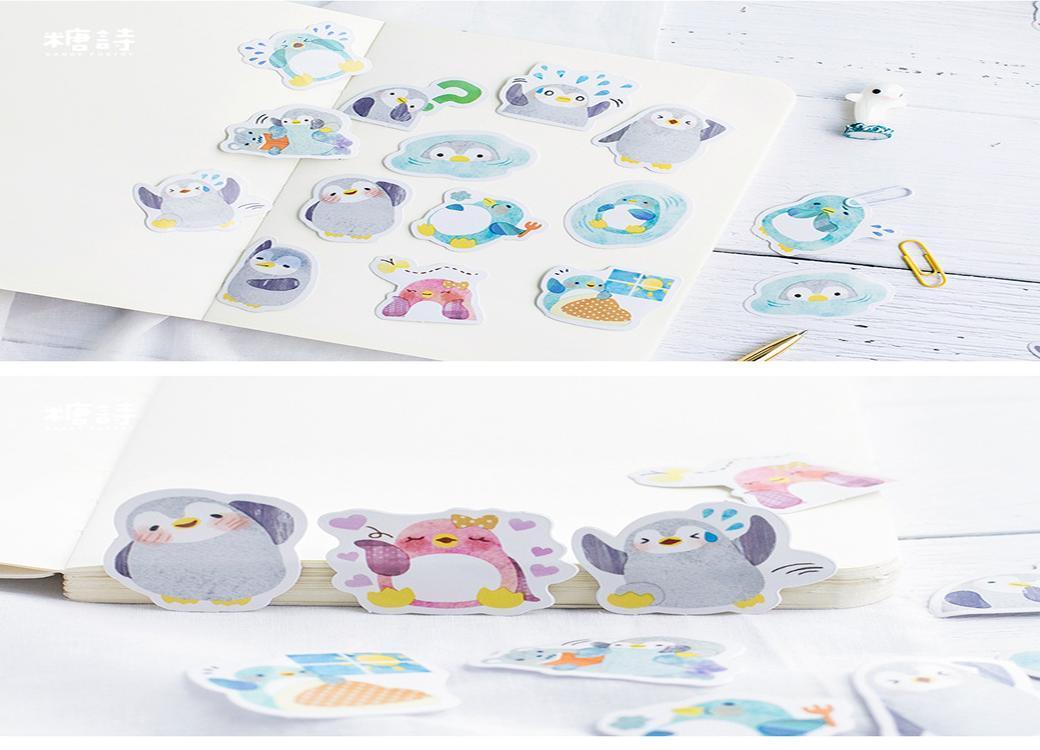 Box etiqueta artigos de papelaria Etiqueta Tz147 Kawaii 45pcs bonito papel pouco de bricolage Scrapbooking Decoração Pinguim Mini Etiqueta bdetoys Adesivos AWAQw