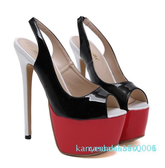 pompe sexy del partito Nightclub Lady scarpe da ballo venature del legno della piattaforma della punta di nuovo sling peep nero ultra tacco alto 16 centimetri progettista szie 35-40 K06