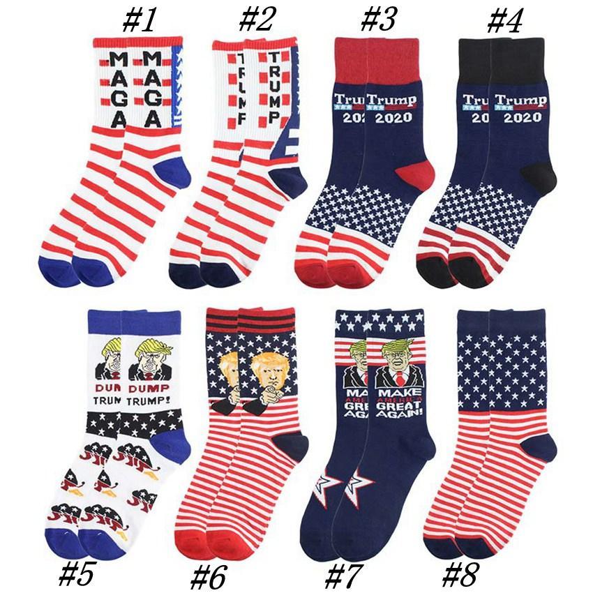 2020 Trump Presidente Calcetines MAGA Trump Carta medias a rayas Estrellas US Flag Deportes Calcetines MAGA Partido del calcetín CYZ2525 favor