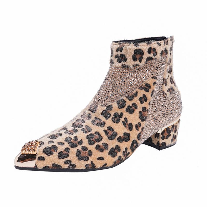 Женской Металл Заостренной Toe Leopard Pattern Стразы Ботильоны Блочный каблук обувь Mixed Colors Новые 2020
