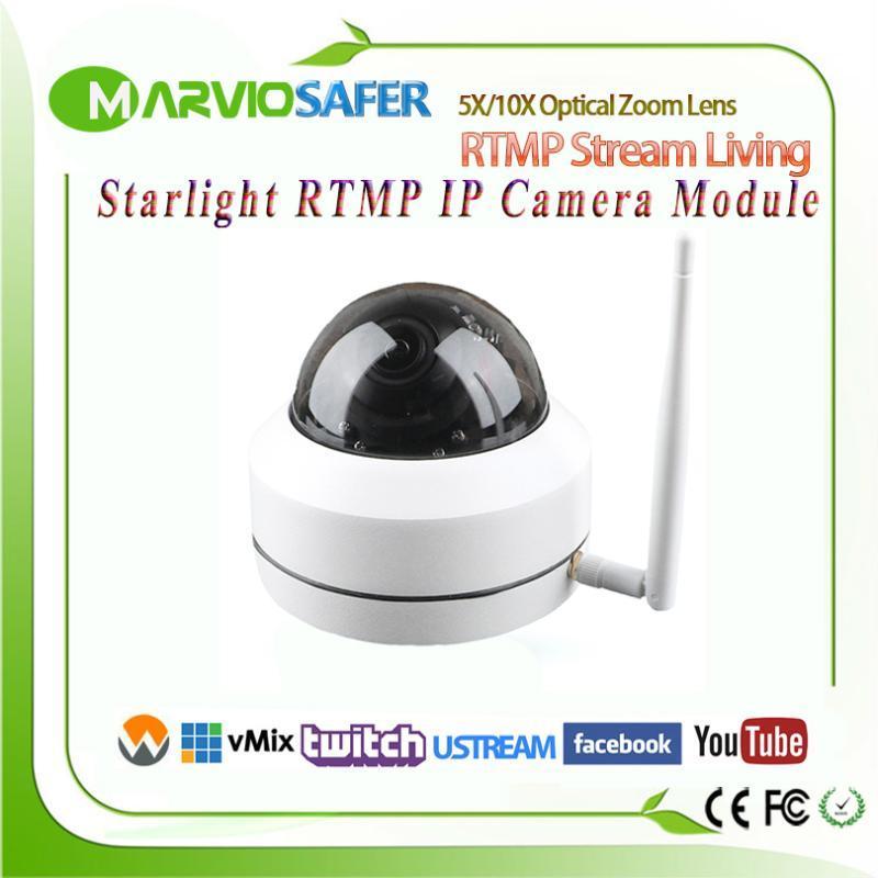 H.265/H.264 1080P Full HD Living Stream Mini PTZ RTMP IP Camera Wireless Living CCTV Network Camera RTSP Two-Audio TF Card Slot