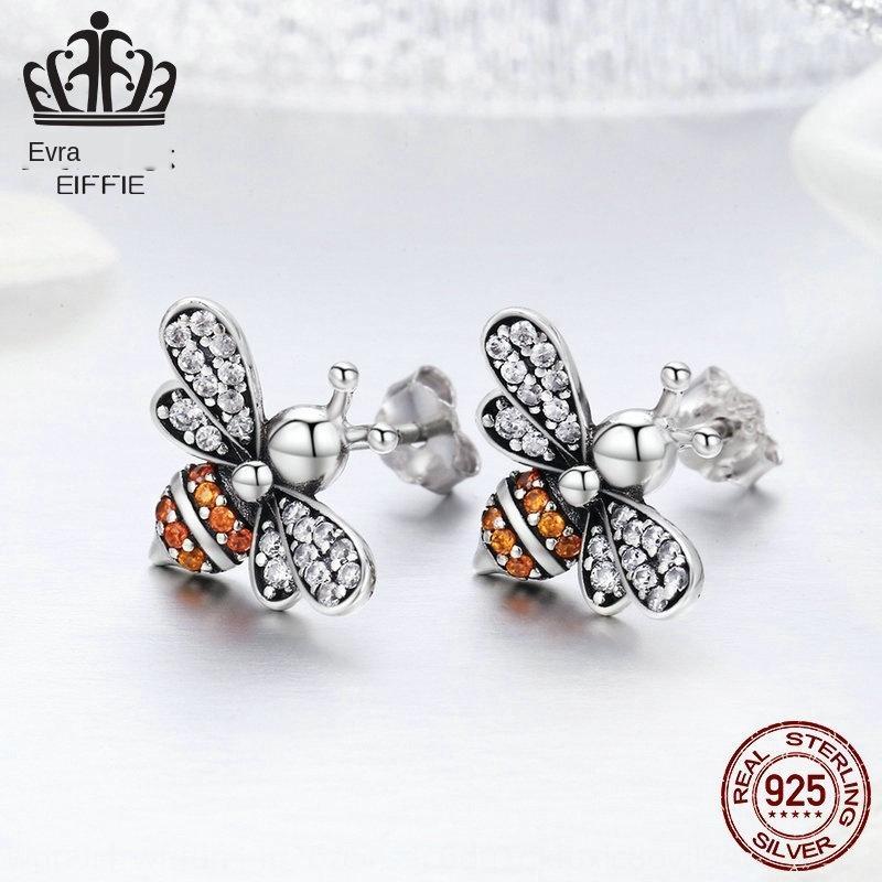 argento rkmvb popolare S925 e orecchini piccola ape intarsiato in argento sterling orecchini femminile SCE344
