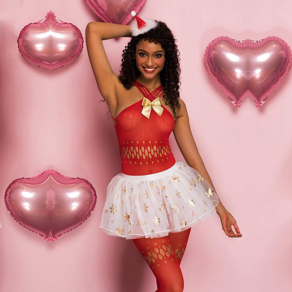 Lace See-through Weihnachten Uniform Sets Sexy Frauen Red Mesh-Kleid mit Strümpfen Cosplay Versuchung Erotic Sexy Lingerie