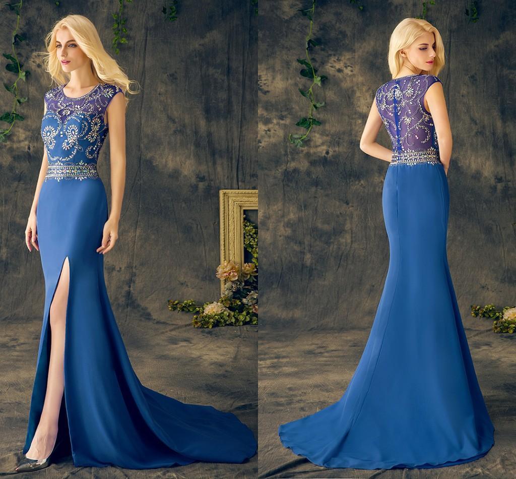 Formal Prom Ospite Perline di cristallo reale dei vestiti da sera blu abito gioiello del collo del manicotto della protezione sexy Split Mermaid vestito poco costoso da Ev119