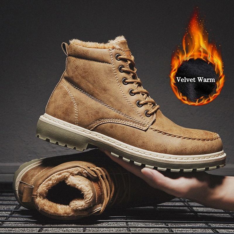 2019 Hiver Hommes Bottes Botas Hombre Chaussures New Pu cuir homme Bottes cheville court peluche confortable hiver chaud Chaussures Homme Mq6J #