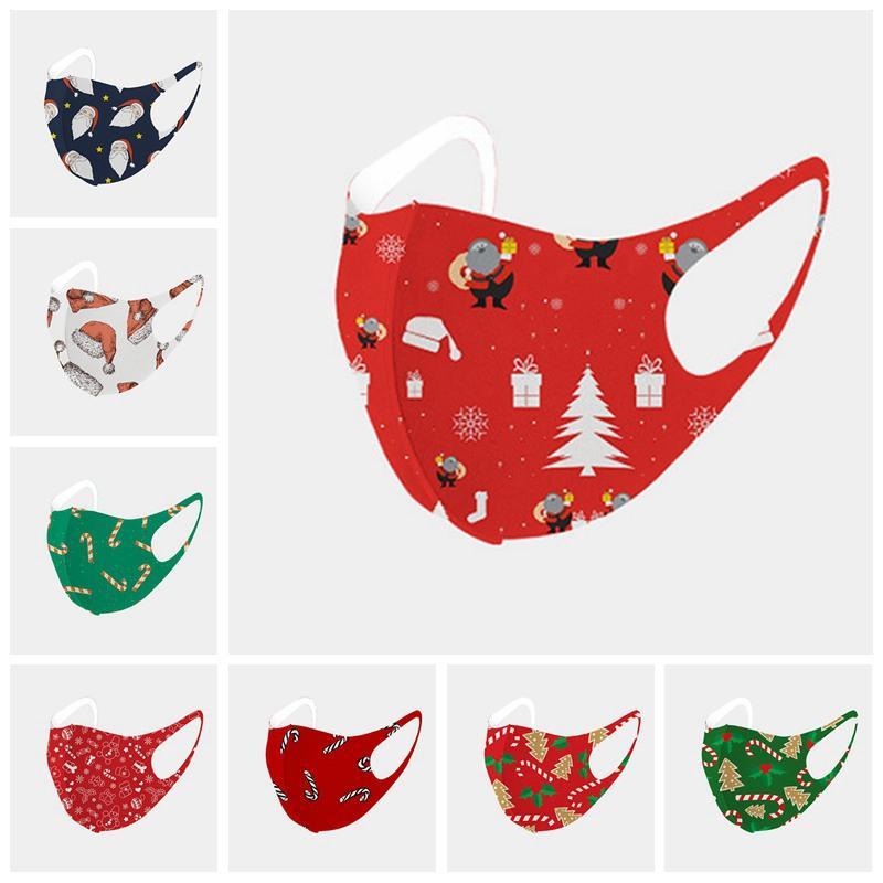 Rosto de Natal máscara máscaras Moda Papai Noel Impressão Ice Silk Cotton proteção contra pó Máscaras lavável reutilizável Xmas Boca IIA591