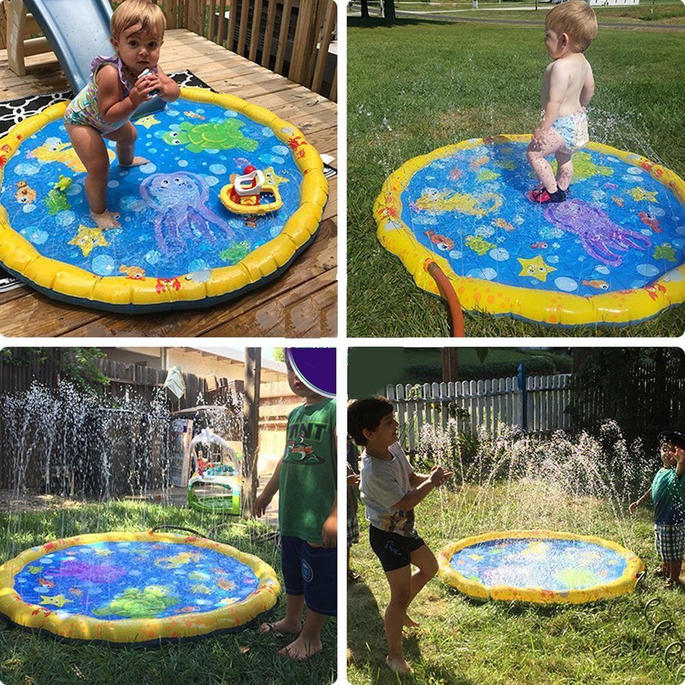 منصات الطفل المرح الأطفال حمام الرشاش المياه سبلاش المياه طفل رذاذ حصيرة لعب ماتس ماتس نفخ سباحة في الهواء الطلق bbyjF bde_luck
