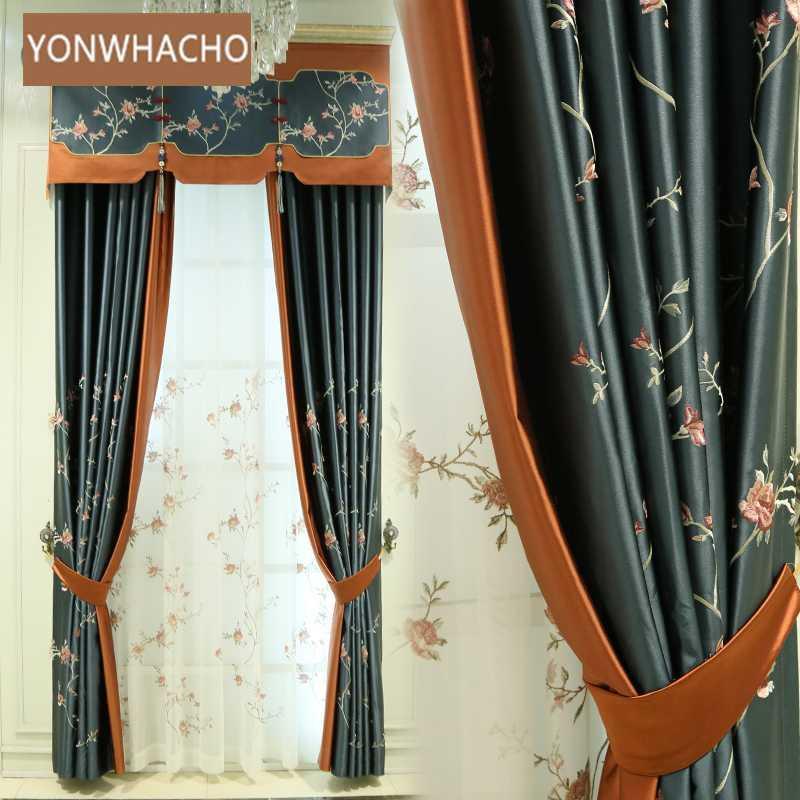 ستائر مخصصة عالية الدقة التطريز الراقي غرفة المعيشة الصينية الأزرق القماش تعتيم الستار تول الستارة الستارة B847
