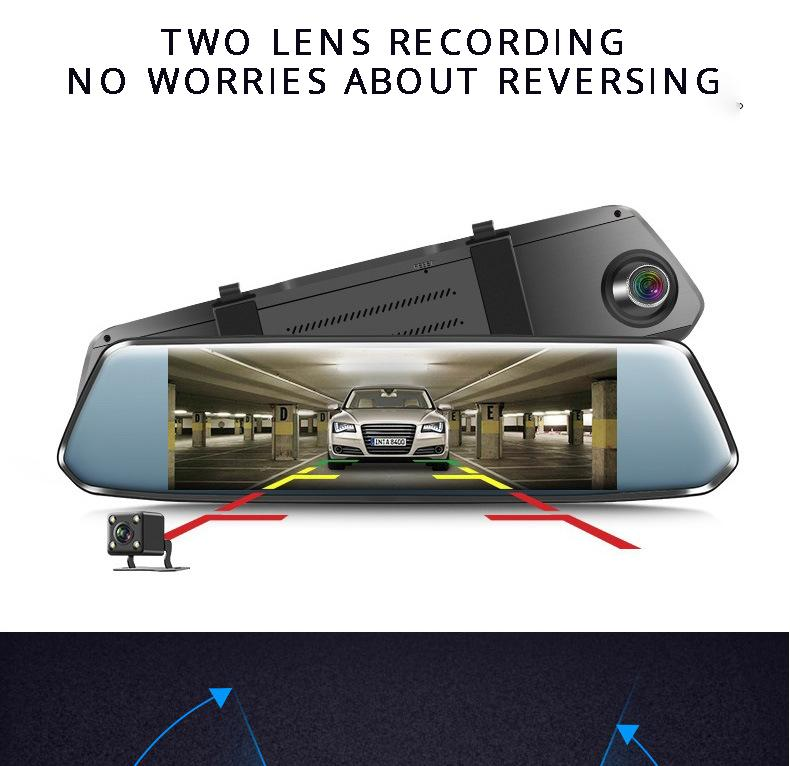 New 7'' IPS Curved screen Car DVR Stream RearView Mirror Dash cam Full HD 1080 Car Video Record Camera with 2.5D curved glass