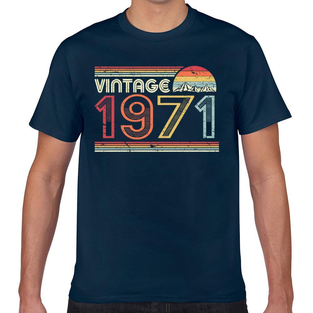 Tops T shirt da uomo 1971 Vintage compleanno del prodotto Retro Neri casuali Geek Stampa maschio maglietta Xxx