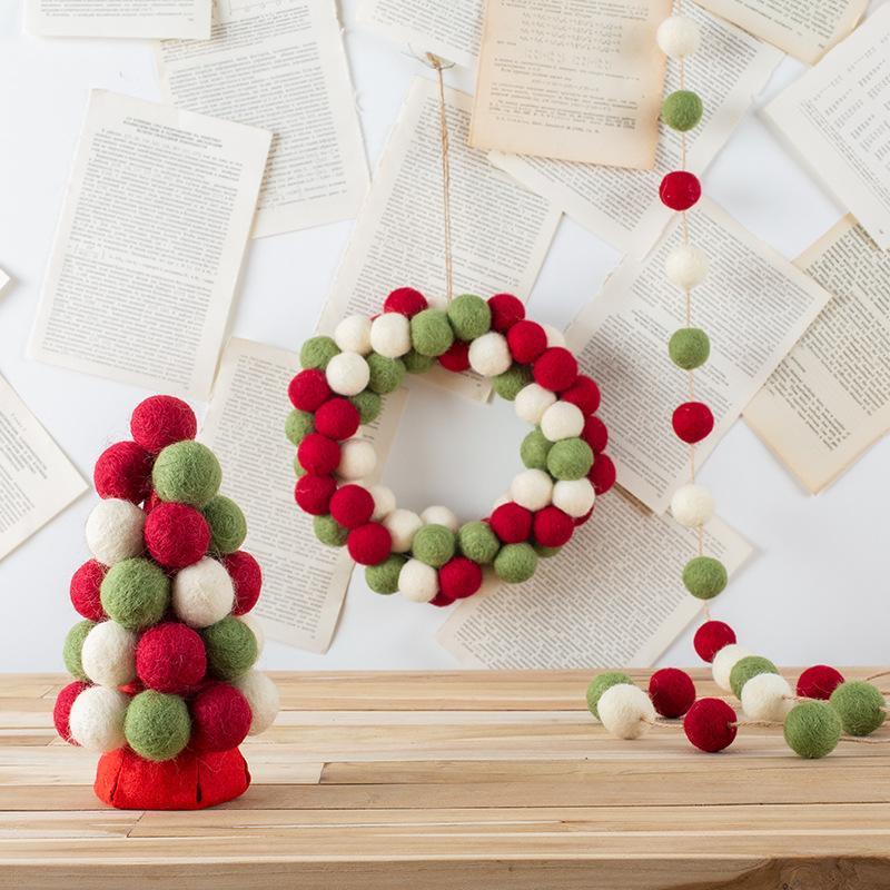 yılbaşı süsleri Noel Doğum Düğün Partileri ev dekor toptan Topu Garland Dekor Keçe
