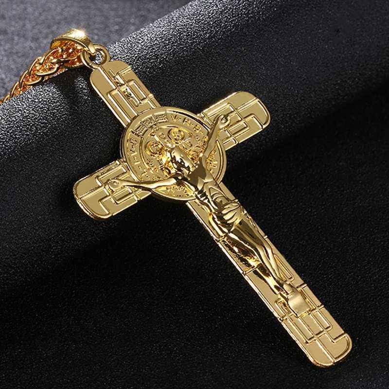Марка цвета золота ожерелья Иисус крест кулон ожерелье Мужская и женская Ювелирные Распятие ожерелья