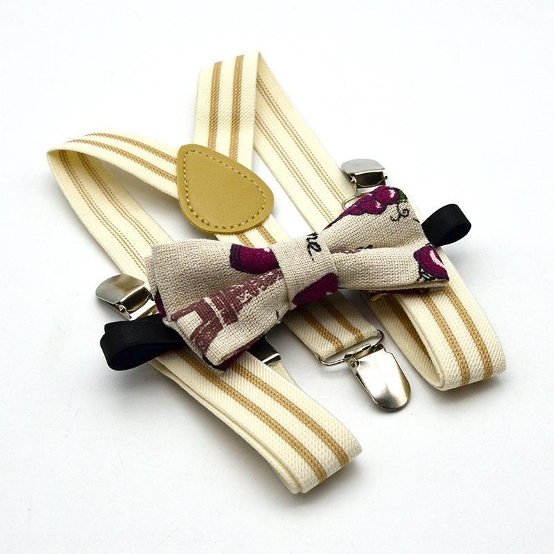 YEkWu Новые мальчиков и девочки в стиле 3 полосатой подвязка клипа напечатанного галстук костюм упругой подвески бабочка стропа подвеска висит штаны клип