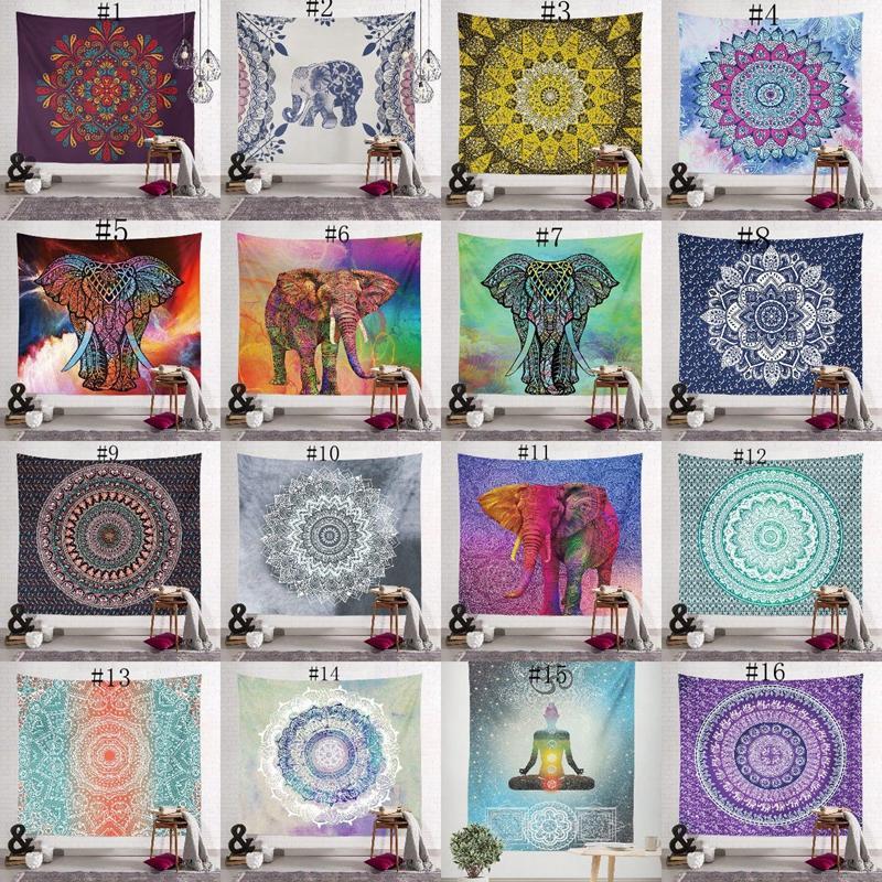 150 * 130cm Bohemian Tapestry Mandala Strandtücher Decke Hippie Wurf Yoga-Matte Handtuch Indian Polyester Wand-Dekor-40 Design FWA1453 hängen