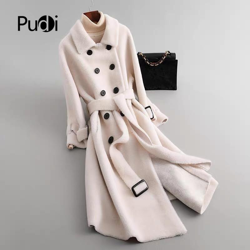 Autunno inverno donne calde di lana cappotto di pelliccia ragazza rivestimento pecora femmina tosatura cappotti di pelliccia cinghia della signora lunga giacche trench oversize T200915