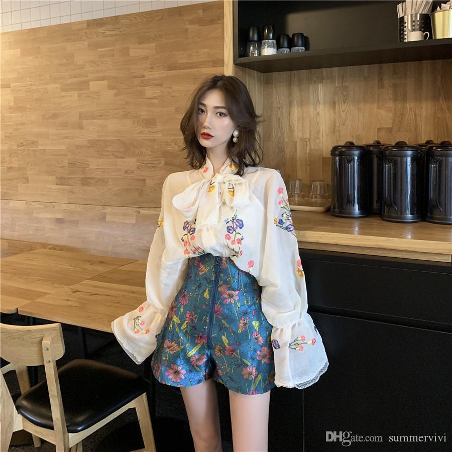 Vecchi bambini Lace-Up archi camicie Tie ragazze grandi fiori ricamati manica camicia long della camicia camicetta donne fiore falbala camicie di pizzo A1886