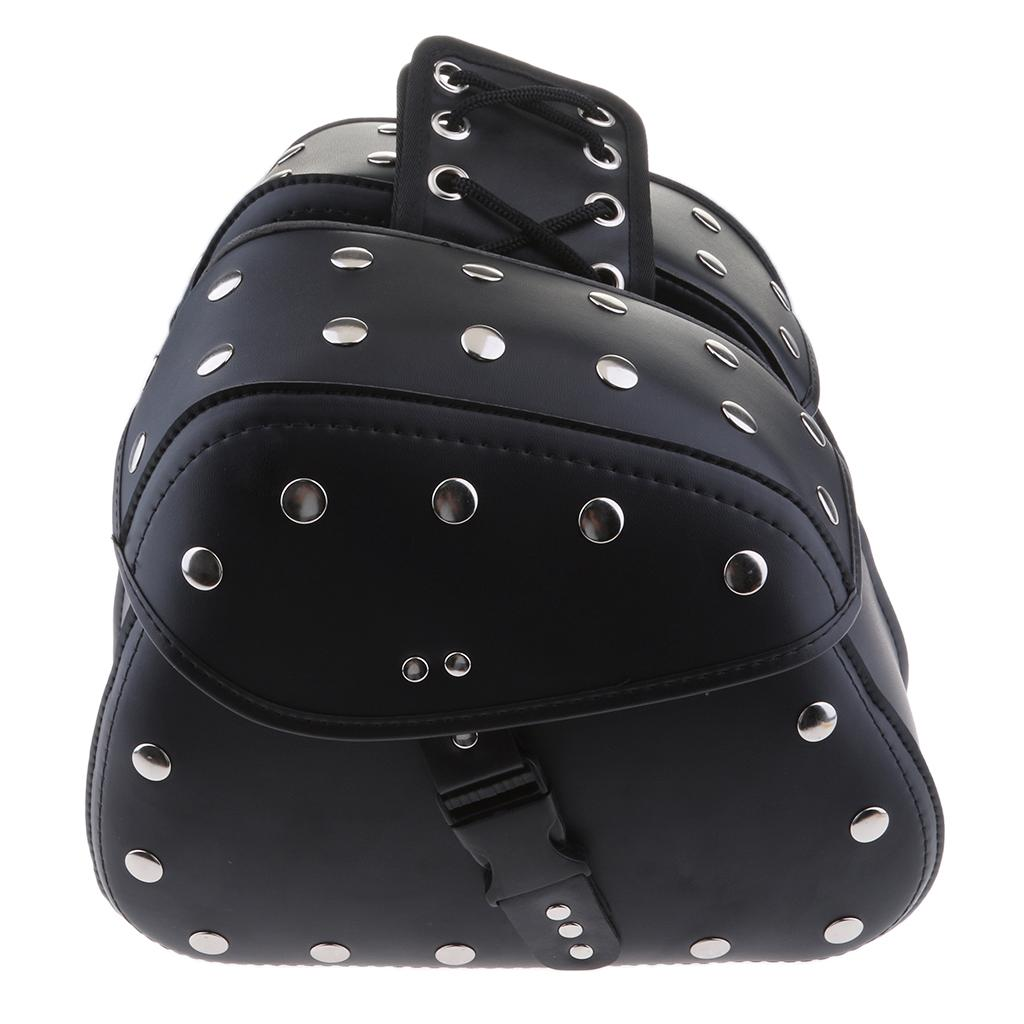 Moto Scooter unviersal en cuir PU Saddlebag outil bagages Sac Side (Noir)