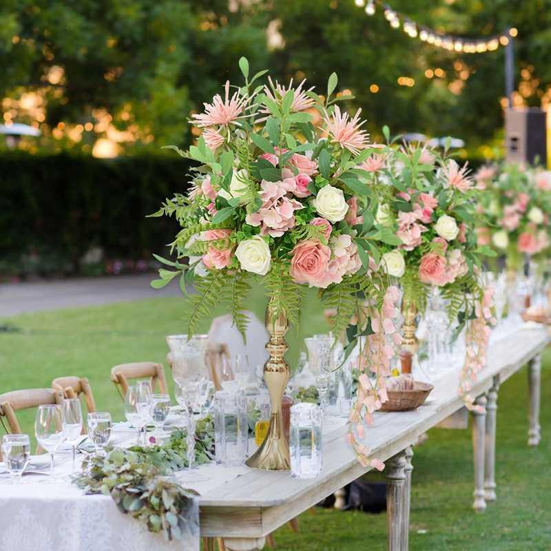 fleur artificielle boule de fleurs table de décoration de mariage pièce maîtresse soie plastique bouquet rose feuille pivoines olive avec vase d'or
