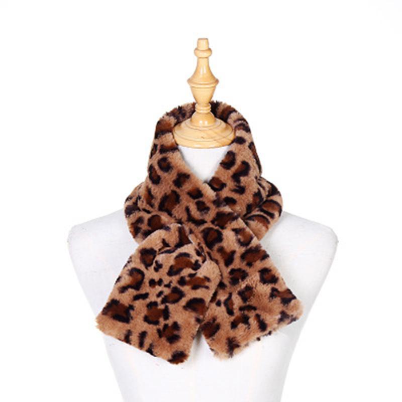 Autunno inverno addensare peluche leopardo sciarpa femminile imitazione rex pelliccia collo di pelliccia calda modello animale collo croce Bib N34