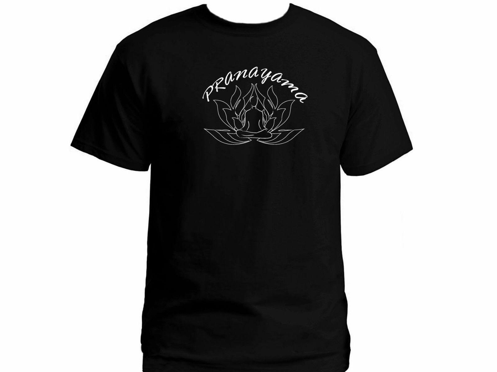 2019 méditation pranayama esprit design Lotus art nouveau t-shirt noir pour homme XXL