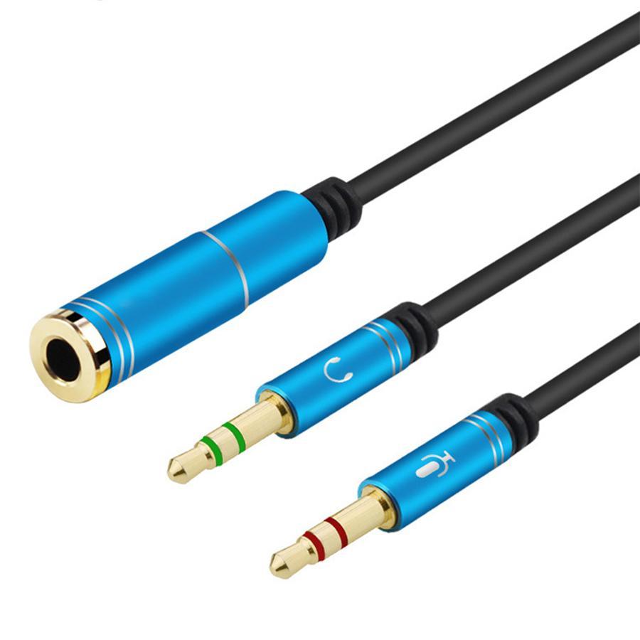 3,5 milímetros cabo de áudio Auscultadores Microfone Splitter 3,5 milímetros 2 masculino para feminino adaptador Jack AUX Extensão PC Converter Cord