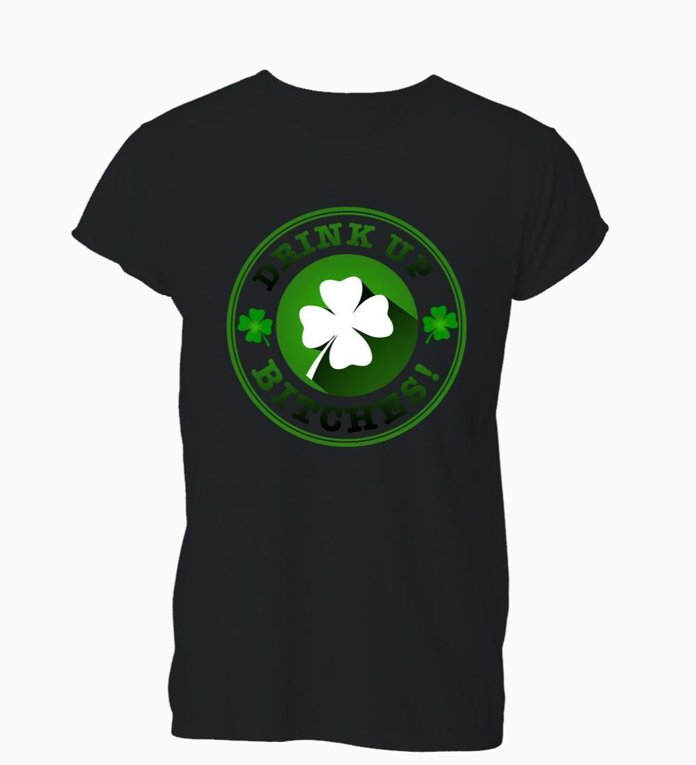 Les nouveaux hommes T-shirt Fashion Style Populaire Homme Drink Up Bitches Pub potable irlandaise drôle Bar T-shirt des hommes