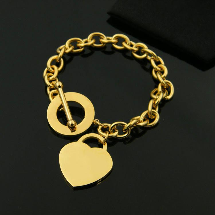 Nuovo titanio acciaio gioielli paio cerchio cuore OT fibbia di spessore classico della moda braccialetto di New York rosa 18 carati Bracciale in oro cuore