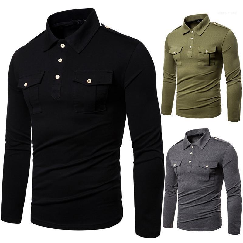 Herren Designer Polo Mode Slim Feste Farbe Revers Hals langarm Poloshirt Casual Herren Kleidung Frühling