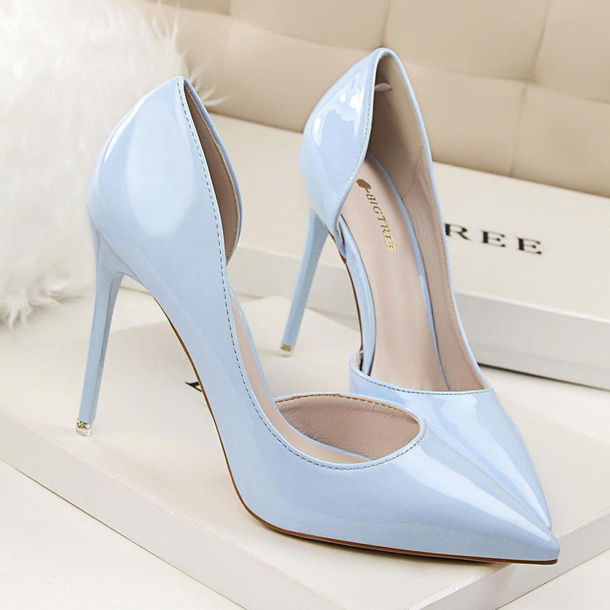 bombas de las mujeres de la nueva manera de tacones altos zapatos finos atractivos del partido en punta del dedo del pie talones mujeres FF323