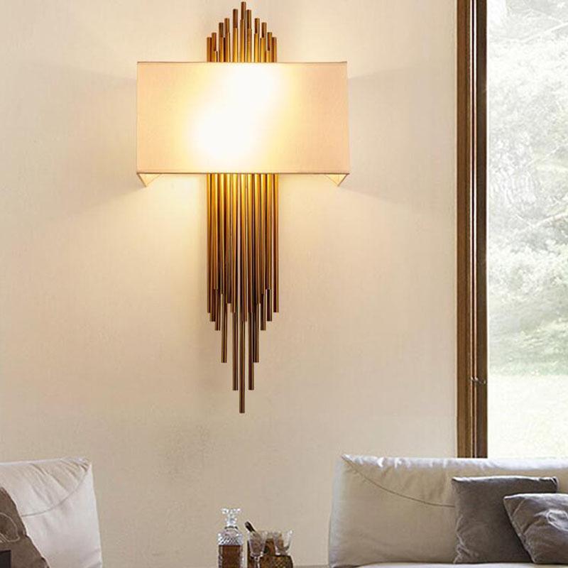 Pós-moderna Retro Wall Lamp Engenharia luz de parede Modelo Designer de pano Tampa Ferro Hotel LED Light