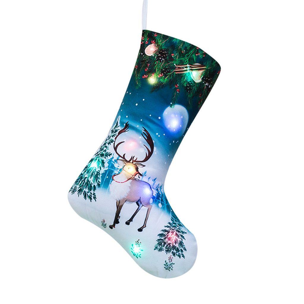 Frohe Weihnachten LED hängende Geschenk-Süßigkeit Große Socken Dekoration Weihnachtsstrumpf stilvolle und kreative Wohnkultur