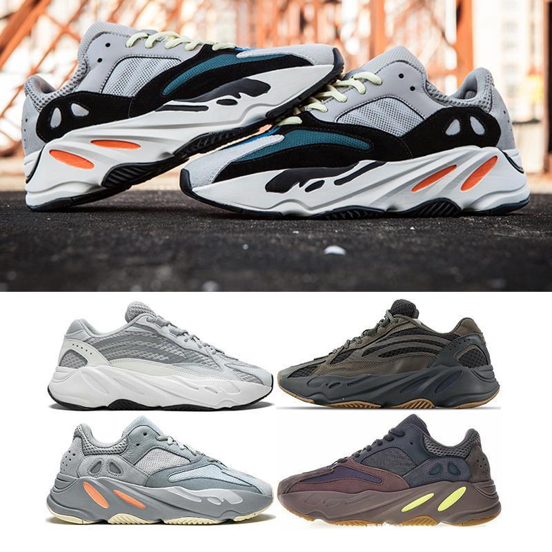 Sconto inerzia statico Kanye West 700 Esecuzione di scarpe sportive delle donne degli uomini 700 Geode Cemento Triple Black White Gum Sport Sneakers 36-46