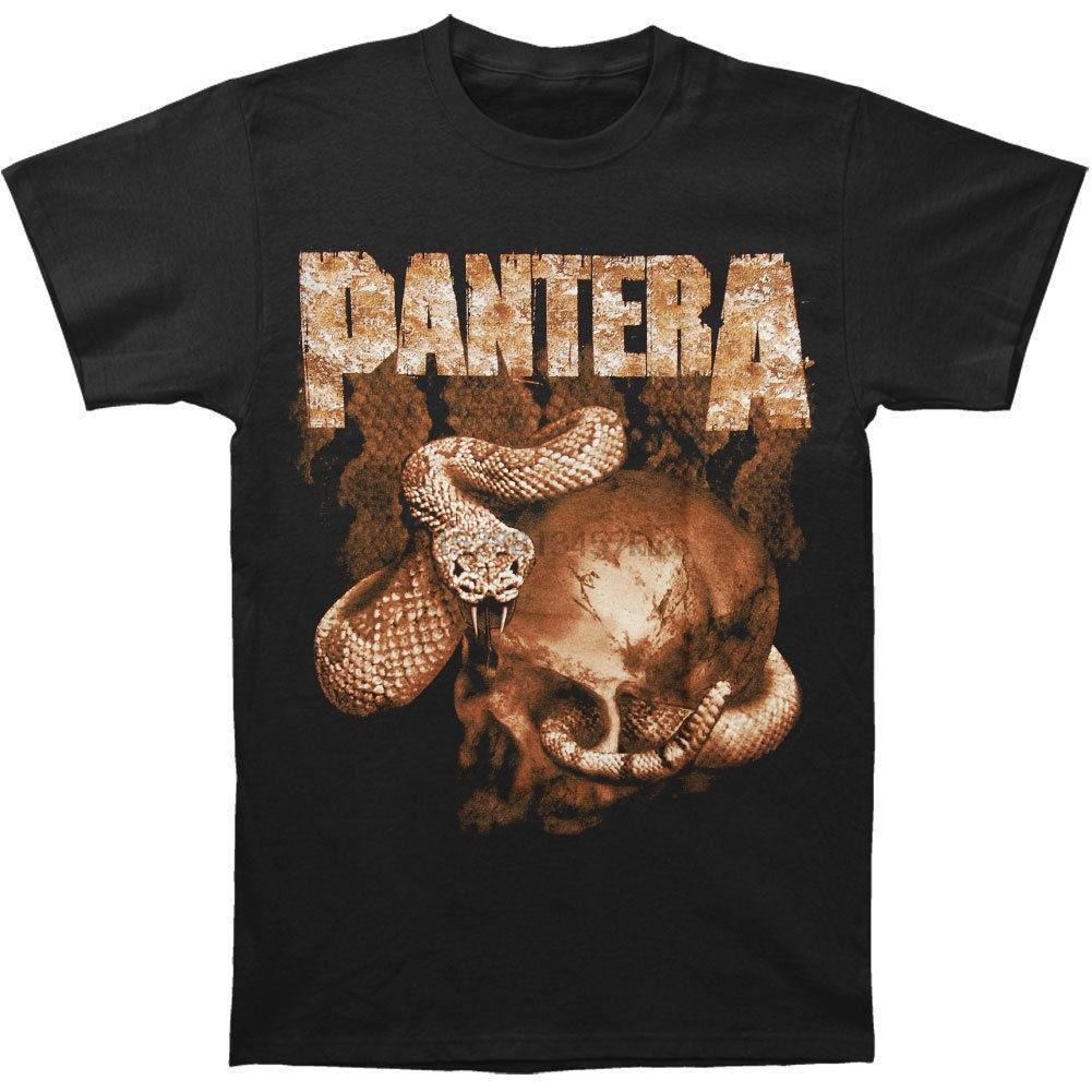 Pantera Mens Rattler Skull T-shirt Medium Nero RockabiliaTee Camicia Uomo Casual