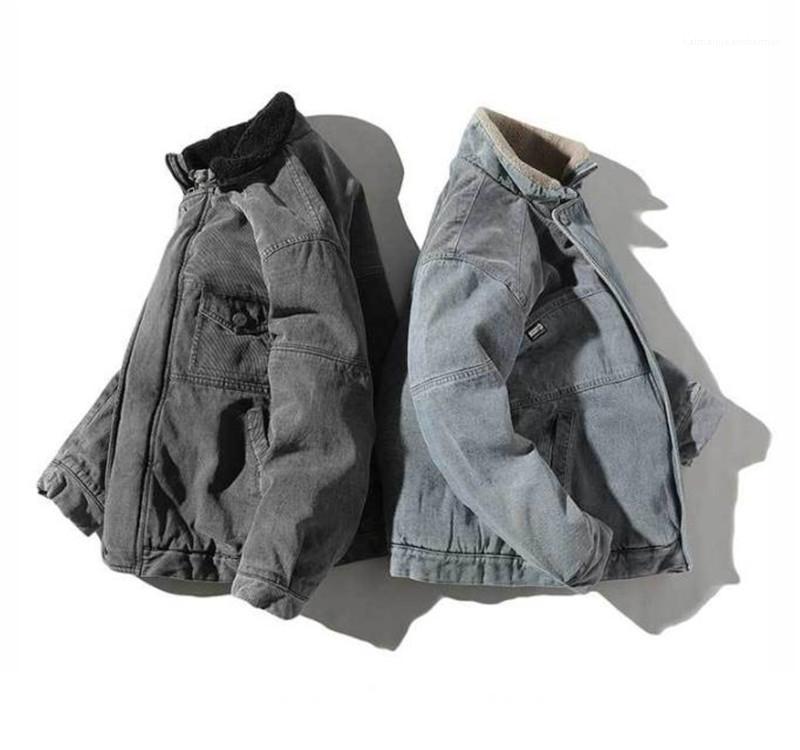 Moda Marka Casual Kalın Kışlık Mont Standı Yaka Erkek Palto Tasarımcı Lüks Erkek Kot ceket Isınma