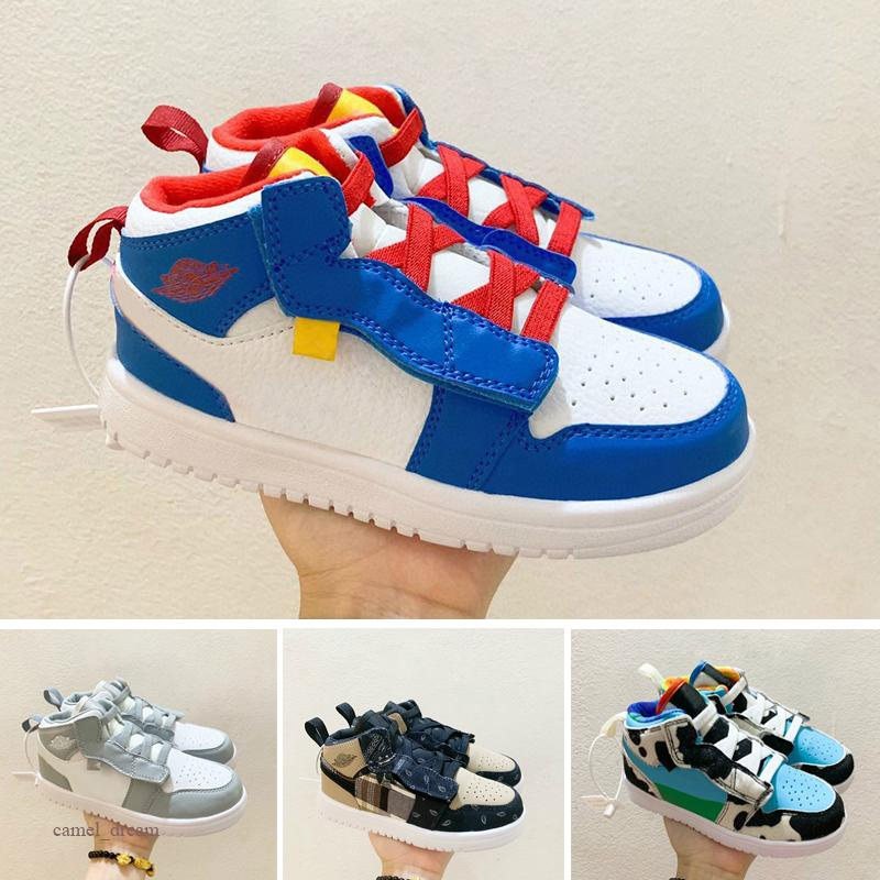 Nike Air Jordan 1 I Kleinkind-Basketball-Turnschuh Pine Green Spiel Königs Scotts Obsidian Chicago Bred Melody Mid Multi-Color Tie-Dye-Kinderschuhe 1s Infants