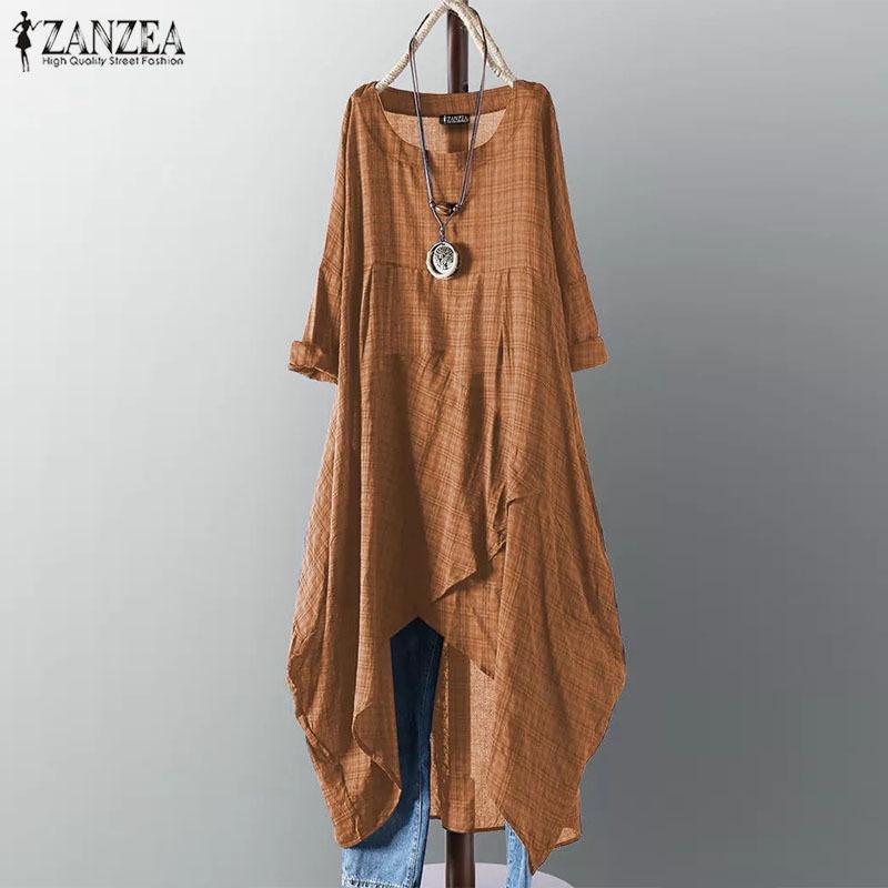 Проверить ZANZEA Асимметричный Midi женщин платья платье женщина с длинным рукавом плед Vestidos Лето Sundress Повседневная рубашка Robe 5XL 200928