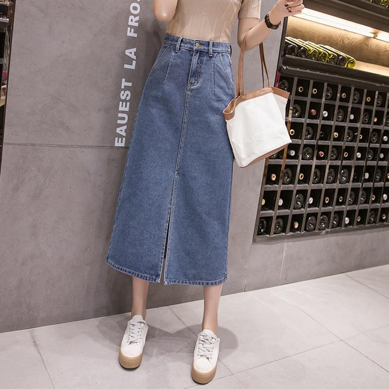 Mujer Denim Faldas de moda de verano de talle alto azul sólido de mitad de Claf falda partida Jeans ropa de tamaño Harajuku Plus