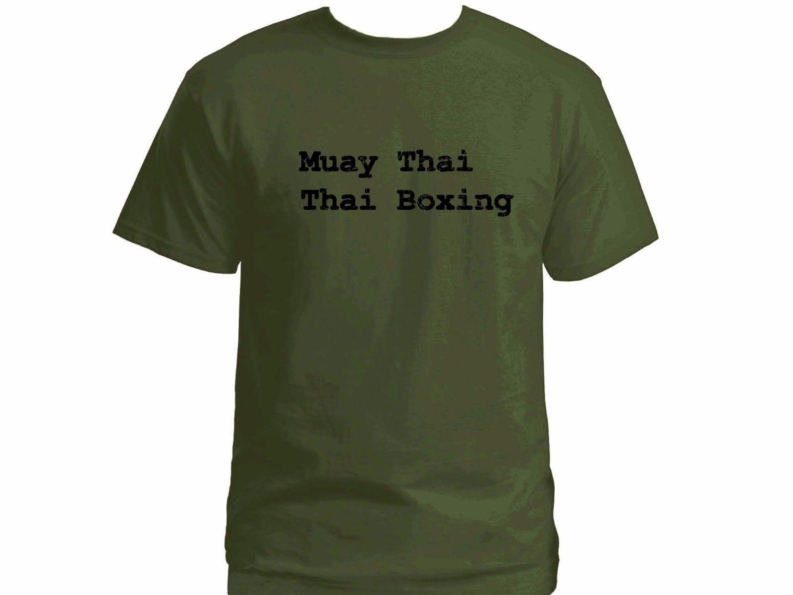Muay Thai kung fu Distressed Print Kickboxing Olive Green T-shirt