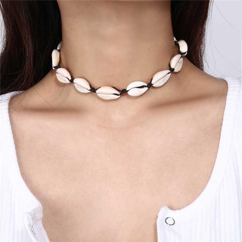 Bohemian Shell naturale Cowrie collana per le donne fascino Conch Seashell del choker del collare Beach Boho estate Collane Collares gioielli