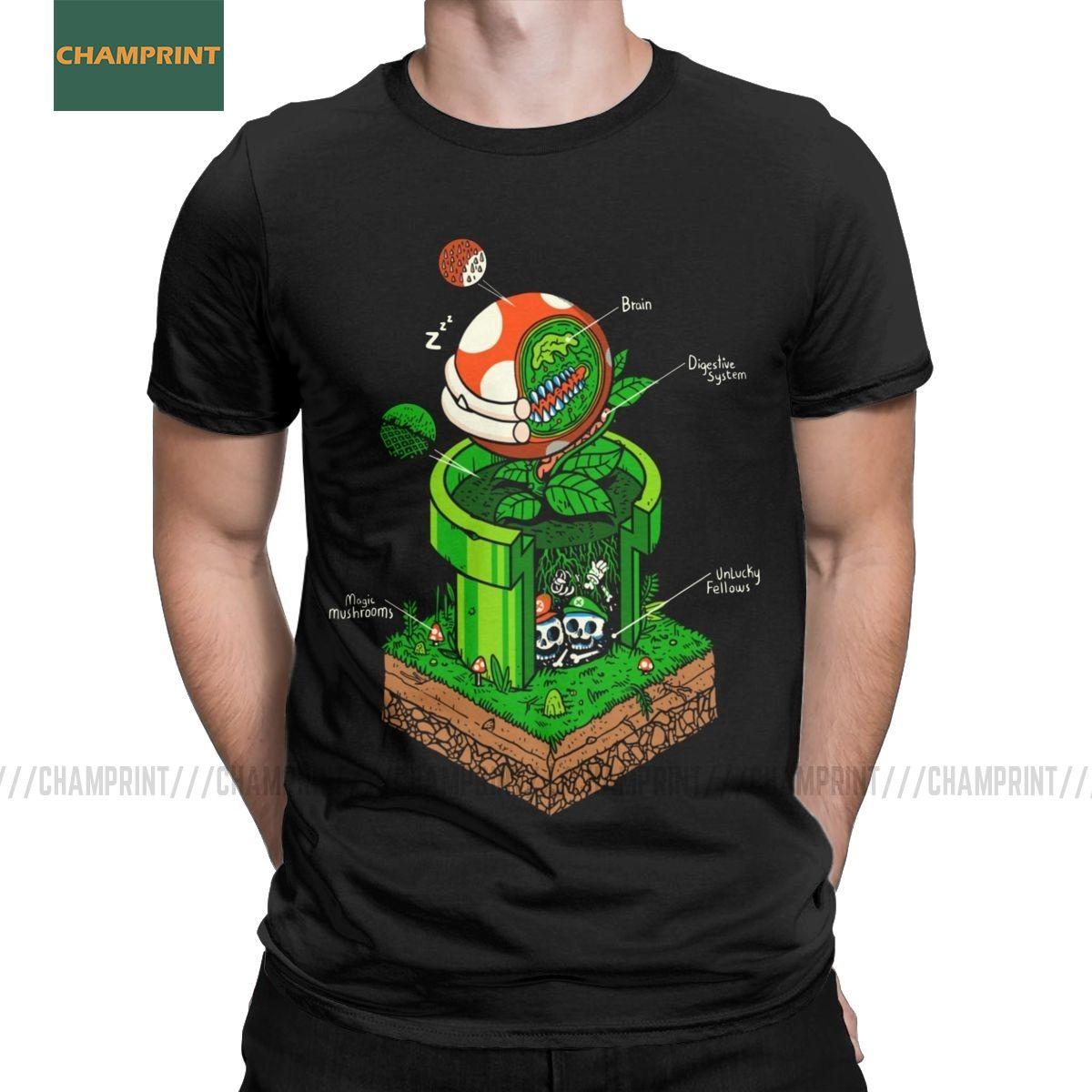 -1up Super Mario camiseta de los hombres de 100% algodón camiseta Bros videojuegos Mashup de hongos juego Camiseta de manga corta Tops gráfico