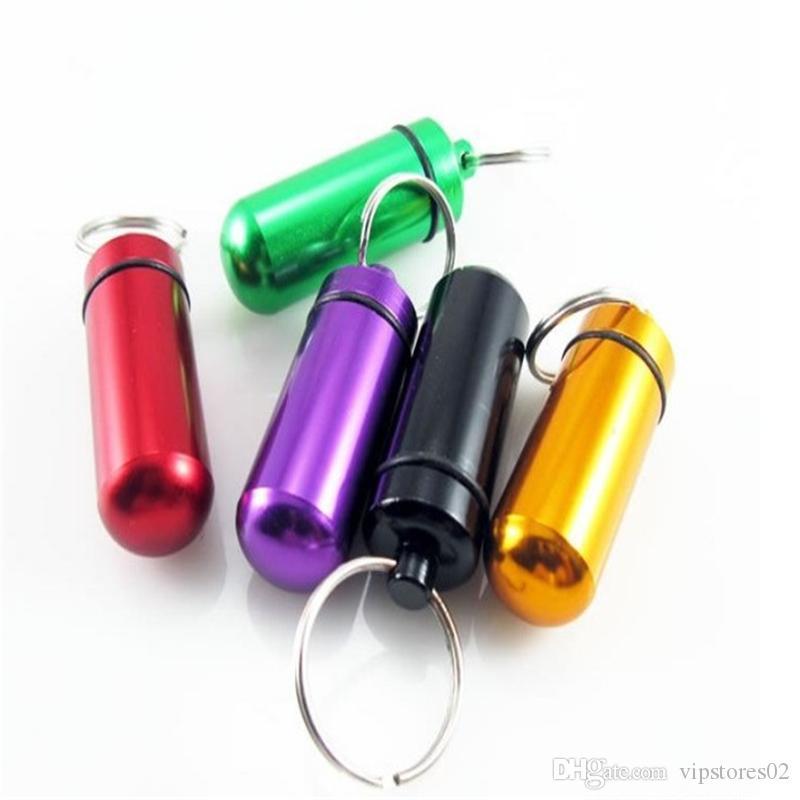 Wasserdichte Aluminiumpille-Kasten-Kasten-Flaschen Cache-Halter-Behälter Keychain Medizin-Kasten Gesundheitswesen Pille Schlüsselanhänger