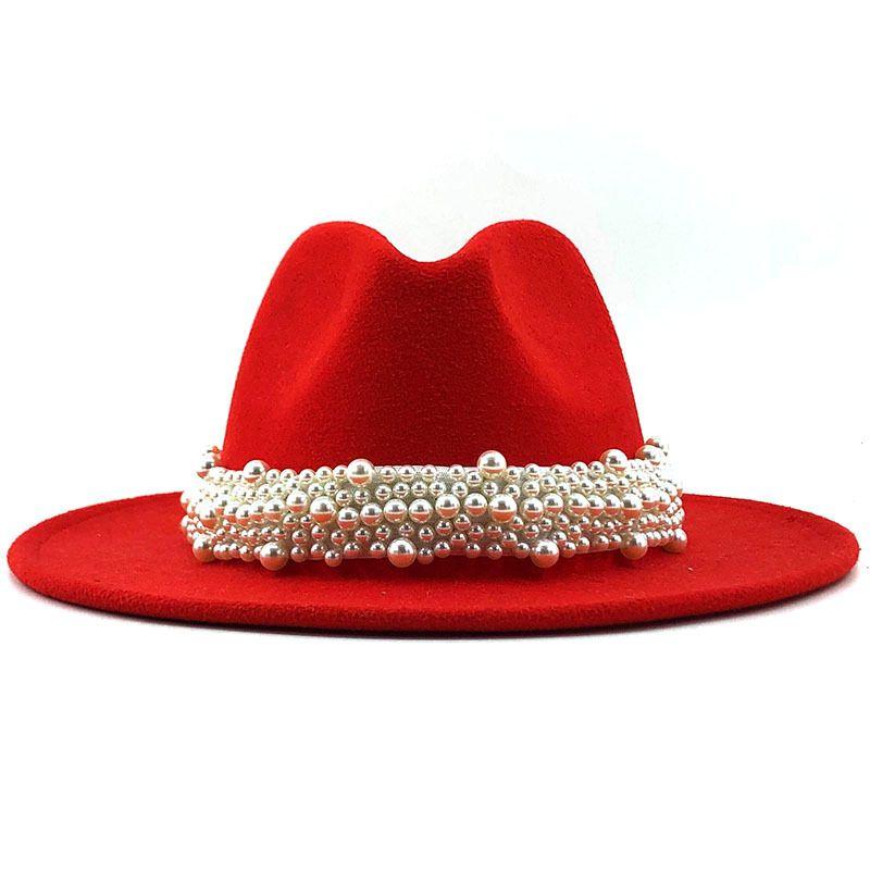 Lana Jazz cappelli di Fedora di cuoio casuale delle donne del nastro della perla il cappello di feltro bianco Rosa Giallo Panama Trilby partito convenzionale Cap 58-61CM