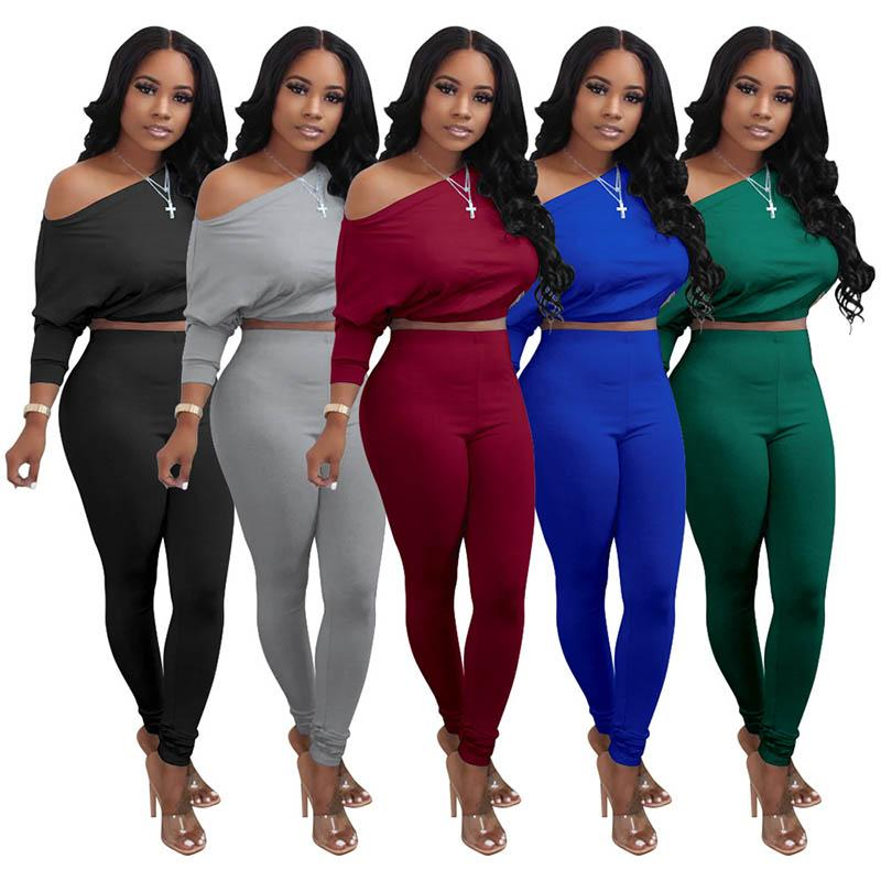Women Tracksuit Autumn Long Sleeve Sports Sets Ladies Two Piece Outfits Crop Tops Pants Suits Female Running Set Sportswear 050914