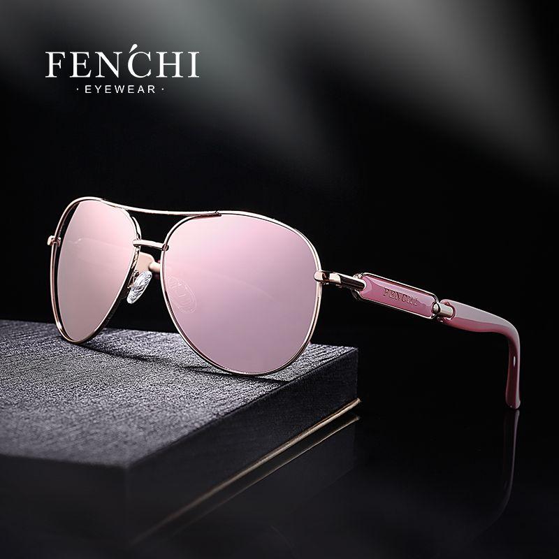 FENCHI 2020 sunglasses metal driving pilot mirror fashion design new sunglasses women high quality pink
