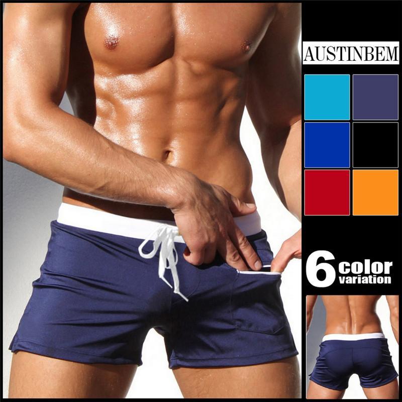 AUSTINBEM Brand Sexy men swimwear board shorts beach shorts men swimwear shorts Surf beach trunks gay sexy briefs