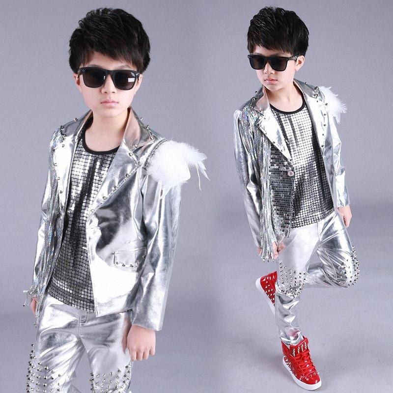 Hip Hop Costume Boys Silver Sequin Fringed Jacket Children Street Dancing Clothing Jazz Stage Wear Birthday Outfits Kids DN4975 8QIK#