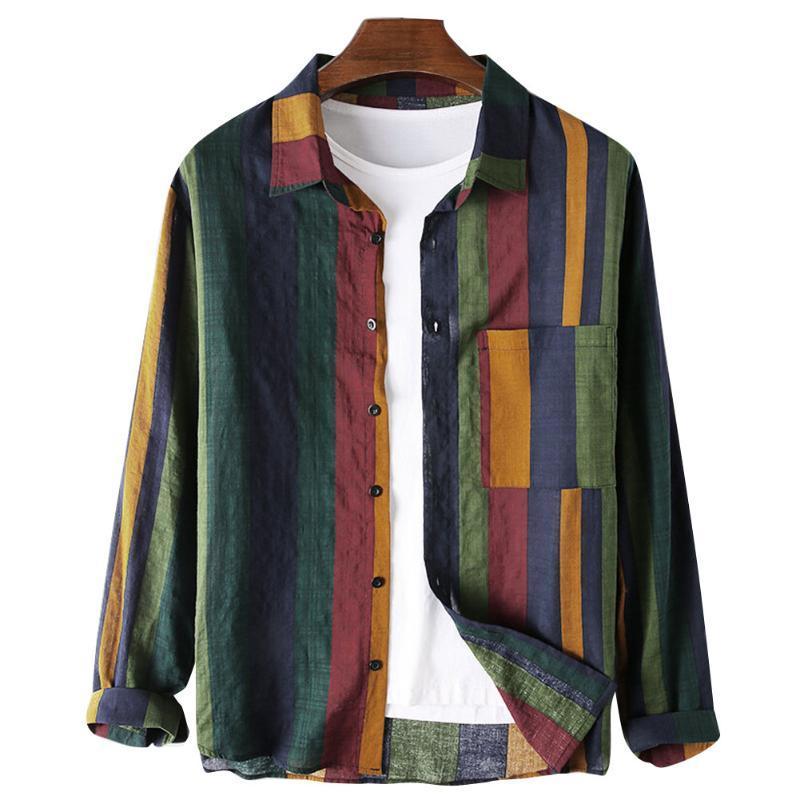 Мужская Блуза Регуляр-Fit с длинными рукавами льняной рубашкой Кнопки вверх Полосатый сложенном Воротник Грудь Карманы вскользь верхней одежды