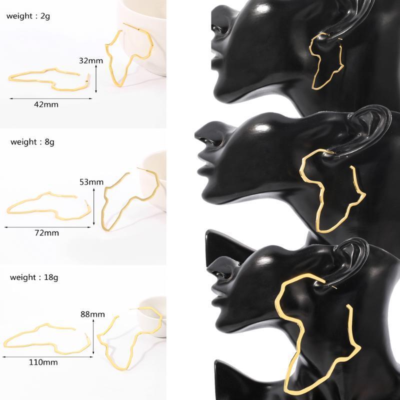 새로운 귀걸이 아프리카지도 Huggie 귀걸이는 큰 중간 및 작은 에티오피아 스테인리스 장식 전통적인 민족 선물을 과장합니다.